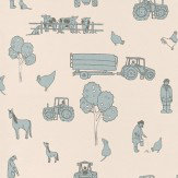 Katie Bourne Interiors Cluck a Doodle Farm  Pale Blue / Cream Wallpaper - Product code: 7E Cluck