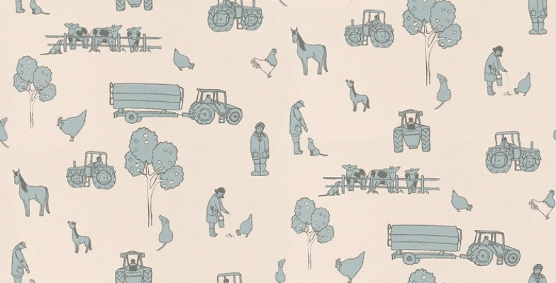Image of Katie Bourne Interiors Wallpapers Cluck a Doodle Farm , 7E Cluck