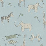 Katie Bourne Interiors Merry Go Circus Lt Blue / Green Wallpaper - Product code: 3K Merry
