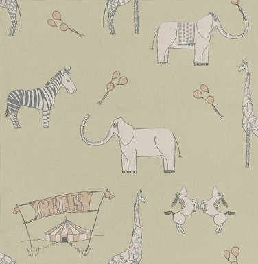 Katie Bourne Interiors Merry Go Circus Green / Pink Wallpaper main image