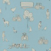 Katie Bourne Interiors Cluck a Doodle Farm  Grey / Sky Blue Wallpaper - Product code: 5G Cluck