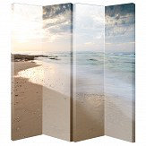 Arthouse Beach Scene Beige Room Divider