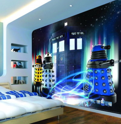 Image of Murals Murals Dr Who Daleks and Tardis Mural, 3 Daleks and Tardis