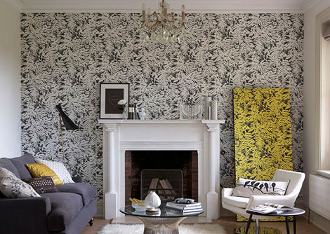 Little Greene Fern Charcoal / Grey Wallpaper