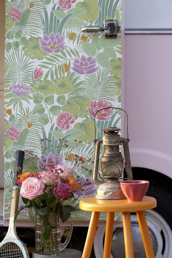 Reverie Wallpaper - Pale Green - by Little Greene