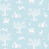 Hibou Home Enchanted Wood White / Duck Egg Wallpaper - Product code: HH00102