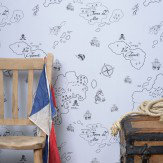 Hibou Home Pirate Seas Blue & Grey Wallpaper