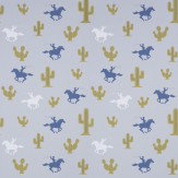 Hibou Home Cactus Cowboy Blue / Green / Pale Grey Wallpaper