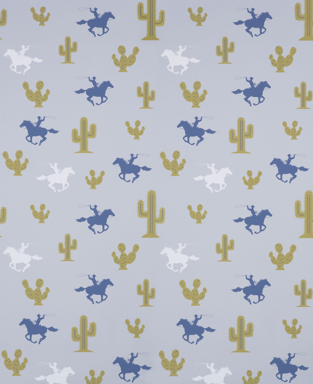 Hibou Home Cactus Cowboy Blue / Green / Pale Grey Wallpaper - Product code: HH00301