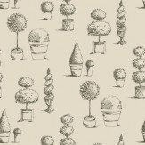 Clarke & Clarke Topiary Charcoal Wallpaper - Product code: W0032/01