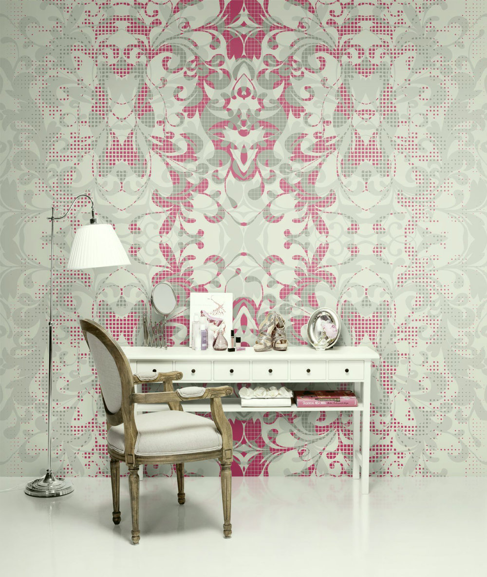 Shifting shadows by mr perswall wallpaper direct for Ornament tapete rosa