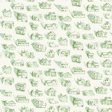 Erica Wakerly Houses Green Cream Wallpaper