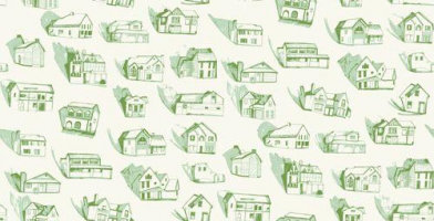 Image of Erica Wakerly Wallpapers Houses Green Cream, HOU G/C