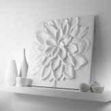 Arthouse White Abstract Flower 3D relief Art