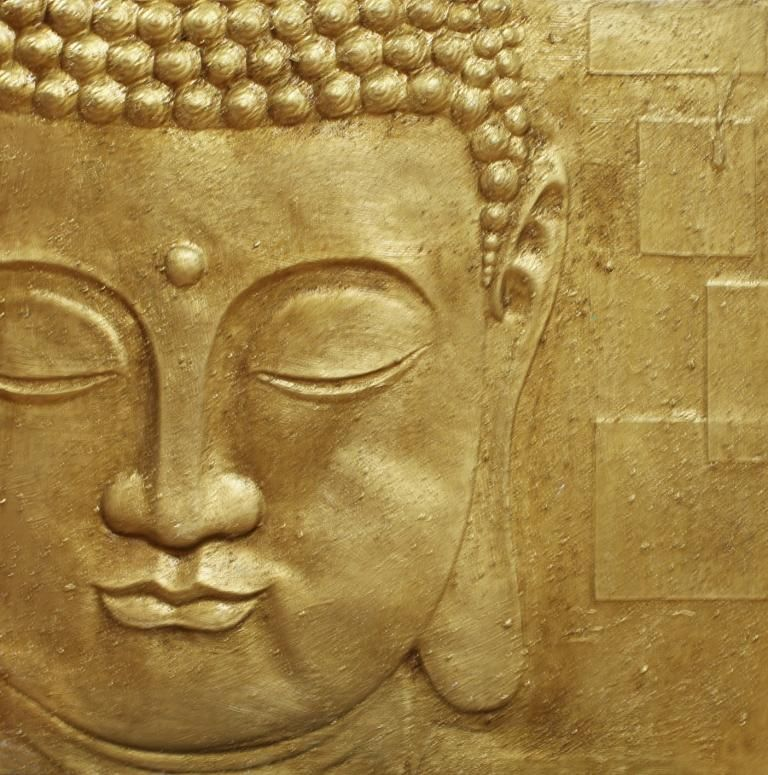 Gold Buddha 3D relief by Arthouse : Wallpaper Direct