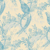 Timorous Beasties Pheasant Blue / Cream Wallpaper