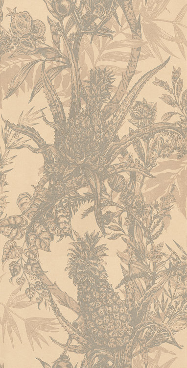 Timorous Beasties Pineapple Grey / Cream Wallpaper - Product code: HS/PINE/4004/01