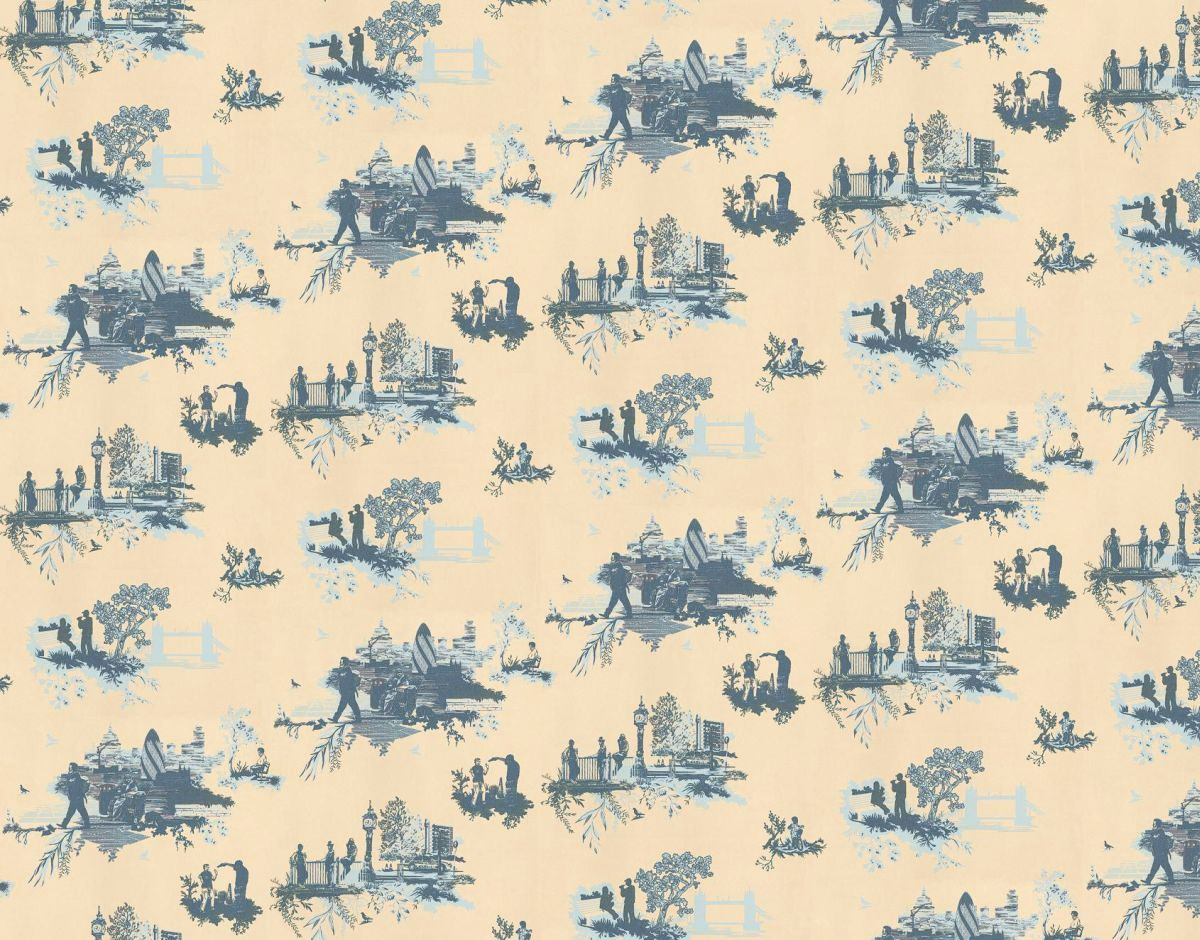 London Toile By Timorous Beasties Blue Cream