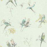Blendworth Chirpy Aqua Aqua / Blue / Pink Wallpaper