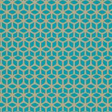 Harlequin Trellis Gold / Aqua Wallpaper