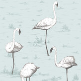 Cole & Son Flamingos Soft Blue Wallpaper