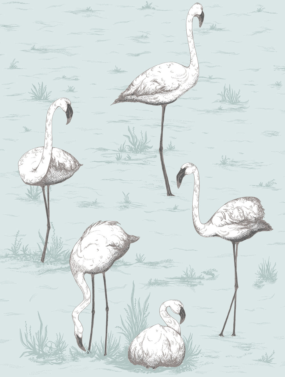 Cole & Son Flamingos Soft Blue Wallpaper main image