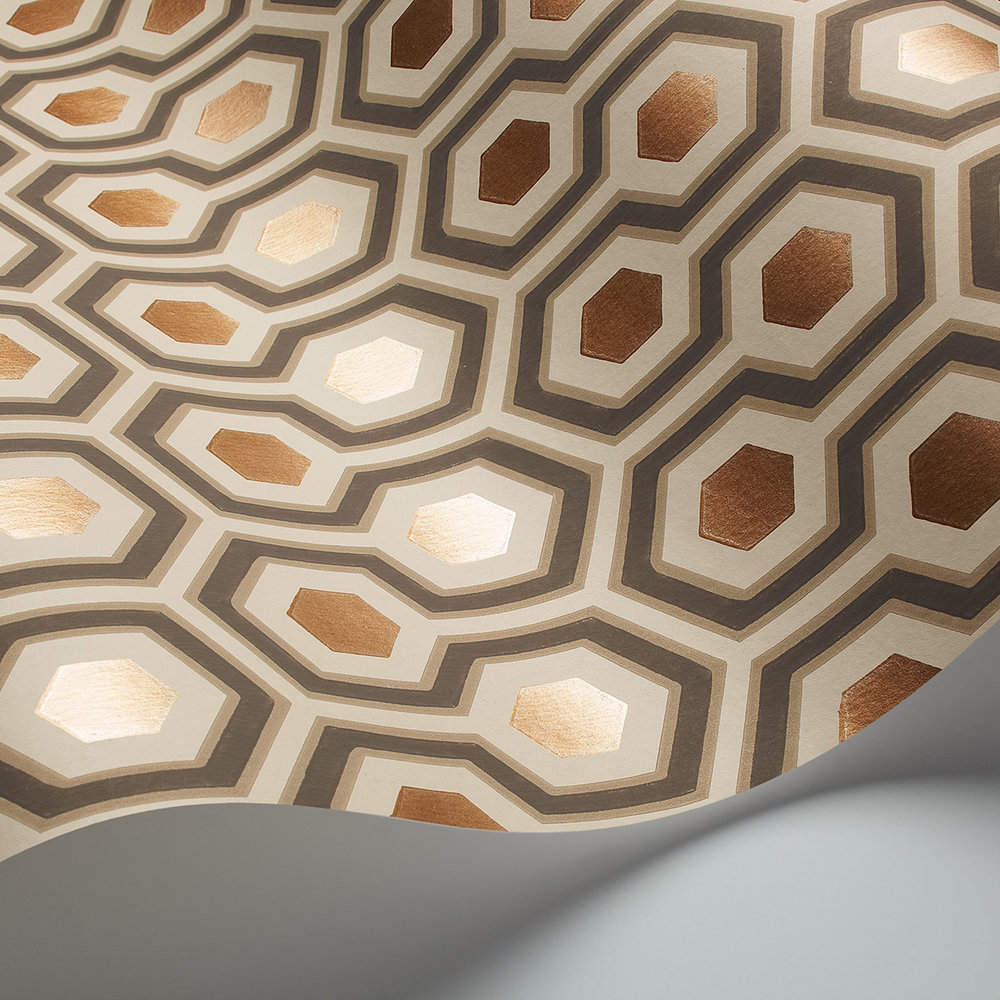 Cole & Son Hicks' Hexagon Taupe & Bronze Wallpaper - Product code: 95/3017