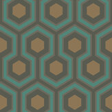 Cole & Son Hicks Hexagon Blue & Gold Wallpaper