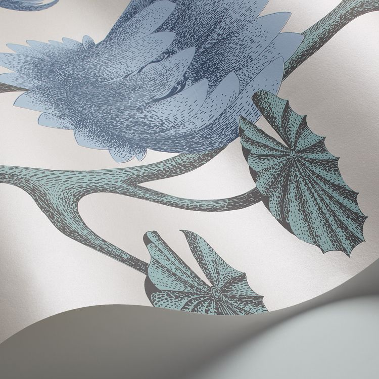 Summer Lily Wallpaper - Aqua - by Cole & Son