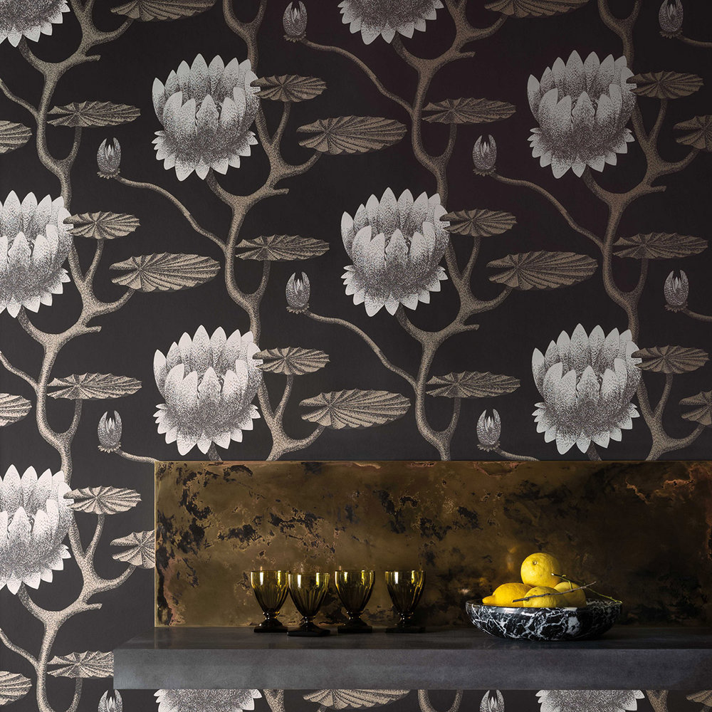 Summer Lily Wallpaper - Black - by Cole & Son