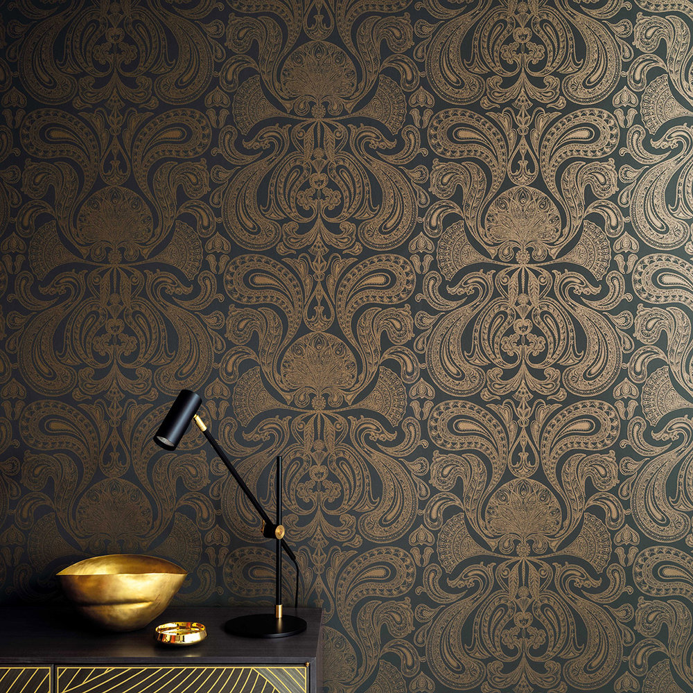 Malabar Wallpaper - Dark Slate Grey - by Cole & Son
