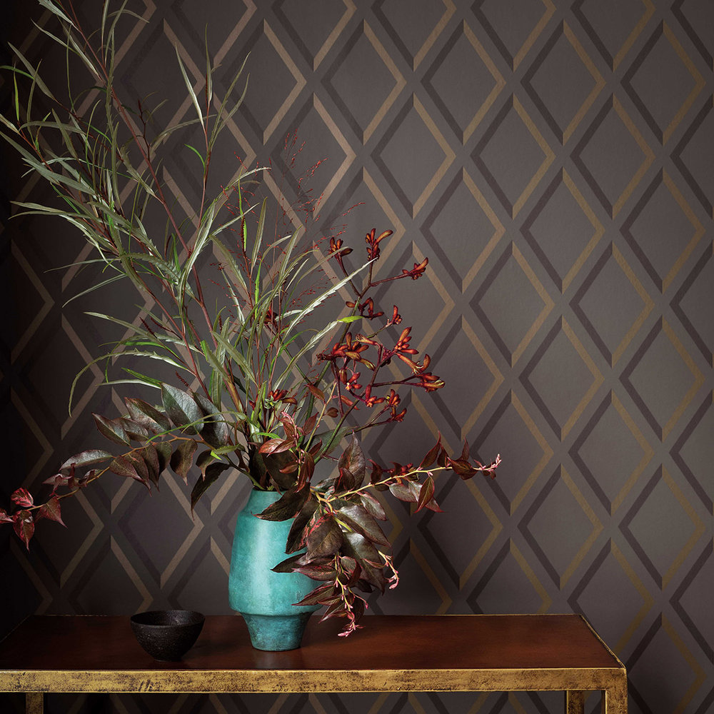 Pompeian Wallpaper - Charcoal - by Cole & Son