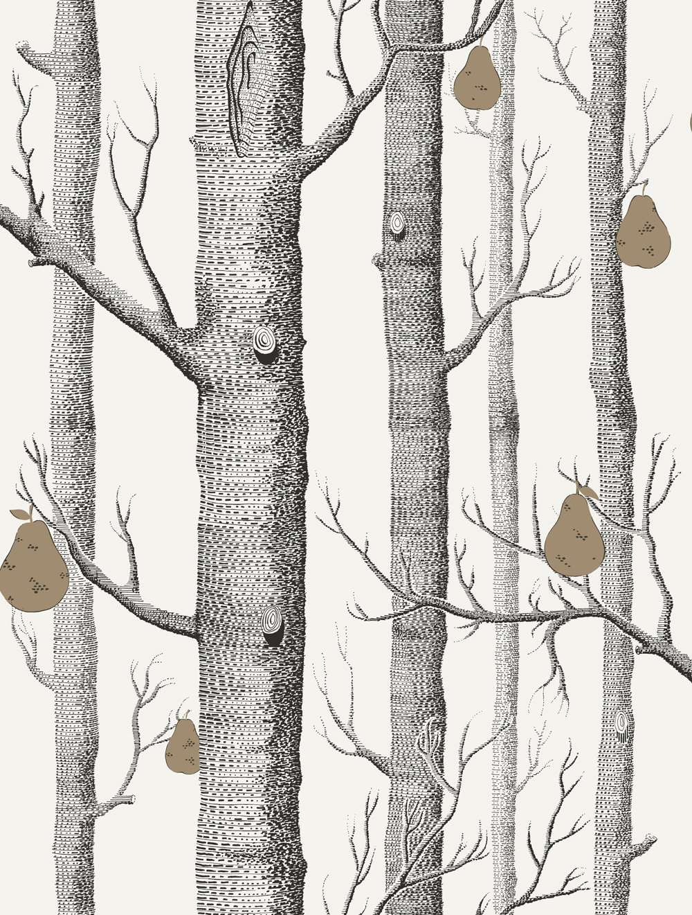 Cole & Son Woods and Pears Black & White Wallpaper main image