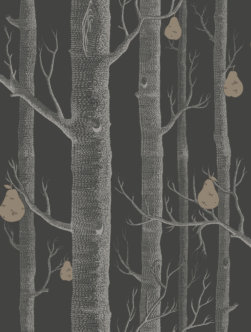 Cole & Son Woods and Pears Black Wallpaper main image