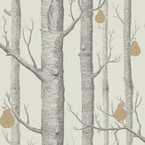 Cole & Son Woods and Pears Grey & White Wallpaper