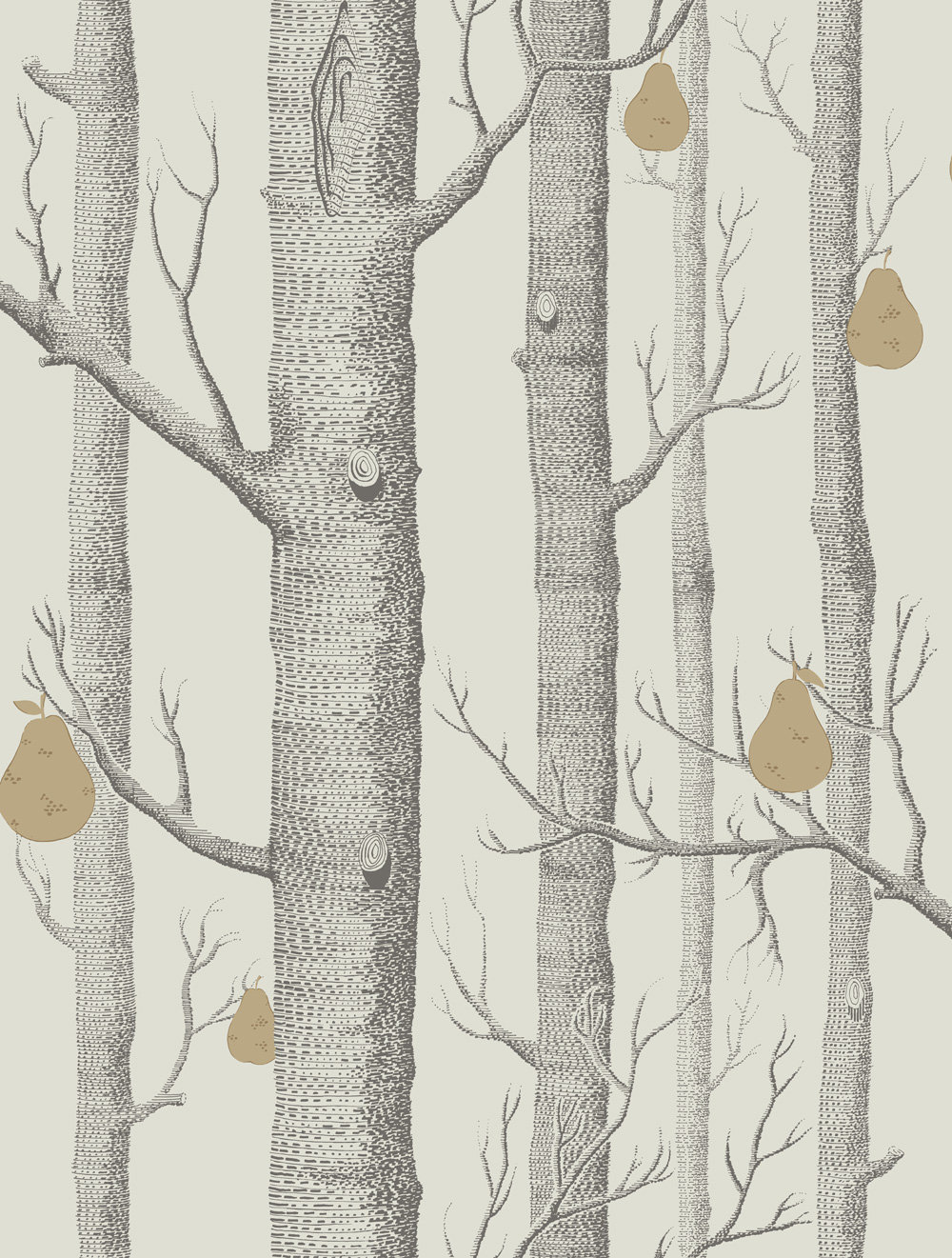 Cole & Son Woods and Pears Grey & White Wallpaper main image