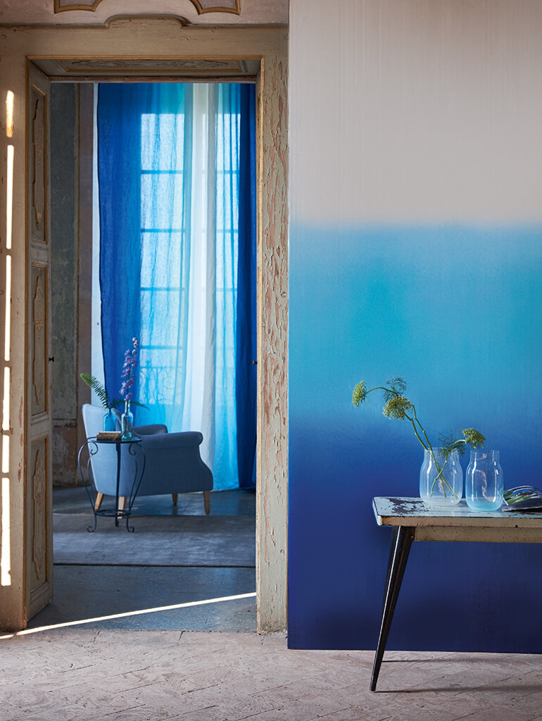 Saraille Mural - Blue / White - by Designers Guild