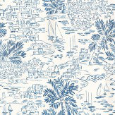 Ralph Lauren Homeport Novelty Blue / White Wallpaper