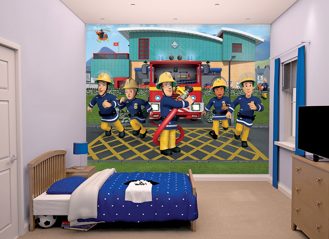 Fireman Sam Mural by Walltastic Multi coloured Wallpaper Direct