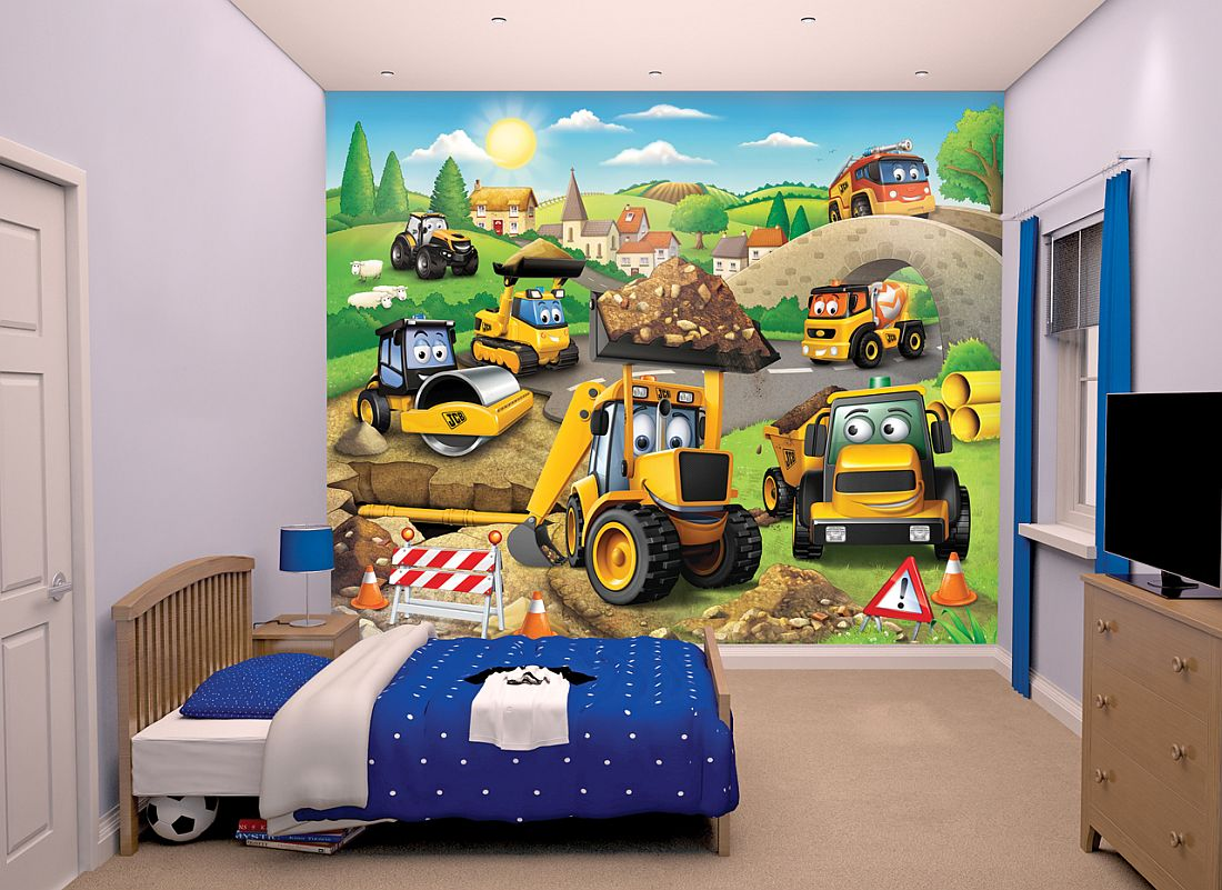 My First Jcb Mural By Walltastic Multi Coloured