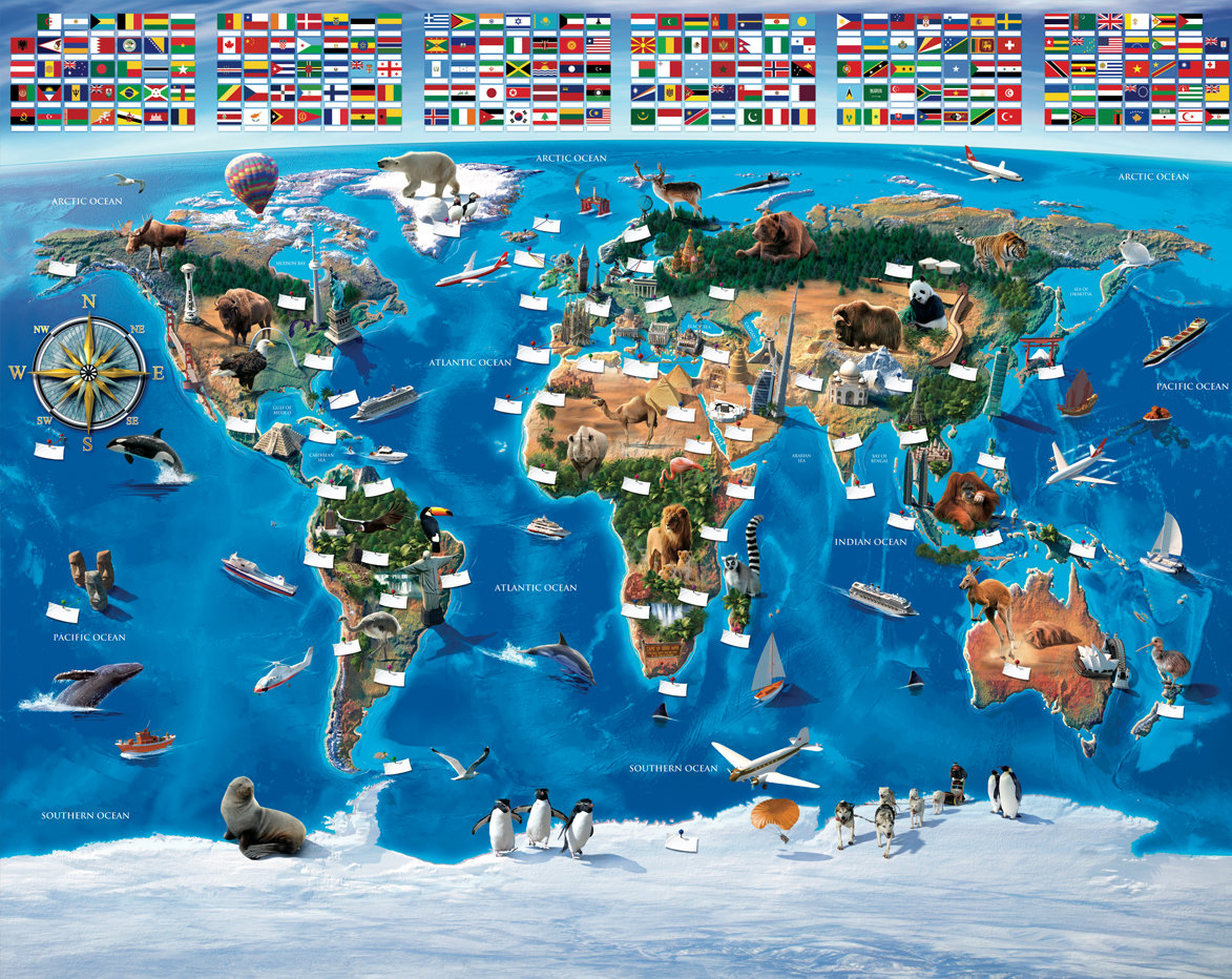 Map Of The World Mural By Walltastic : Wallpaper Direct