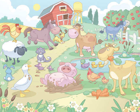 Fun On The Farm Mural By Walltastic Wallpaper Direct