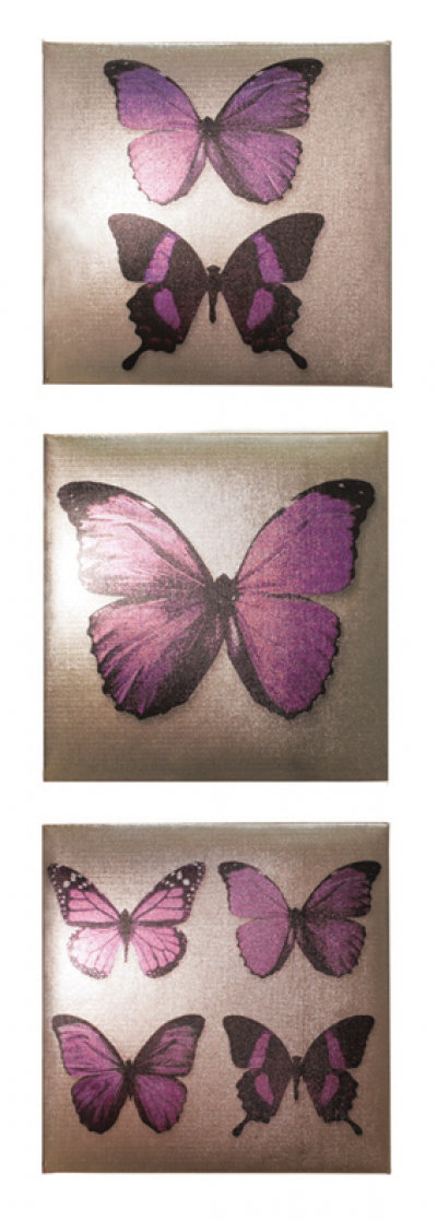 Image of Art Wallpapers Plum Metallic Butterflies set, 002412