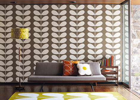 Orla Kiely Giant Stem Chocolate Wallpaper
