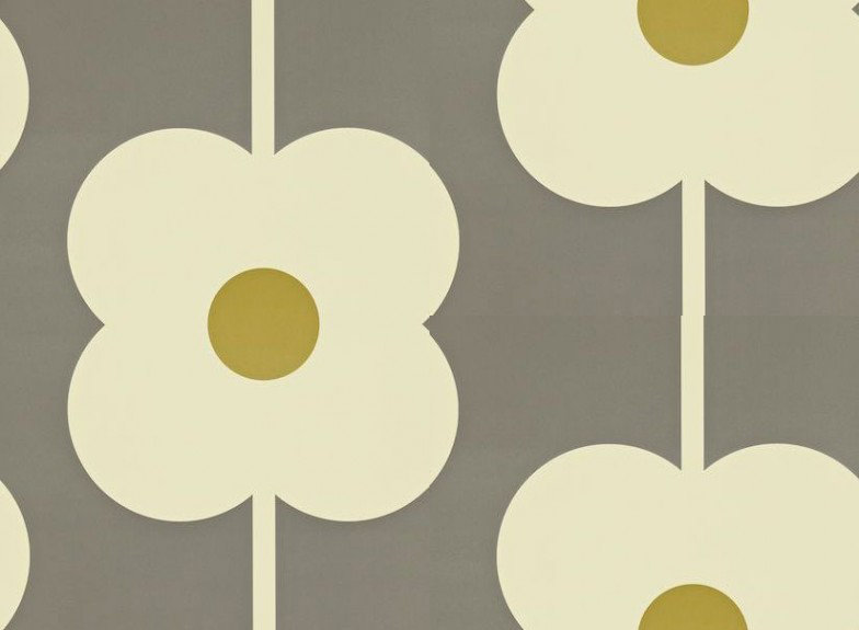 & Giant Abacus Flower by Orla Kiely - Green / Grey : Wallpaper Direct