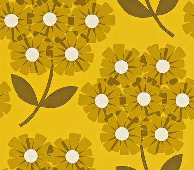 Orla Kiely Giant Rhodedendron Brown / Yellow Wallpaper - Product code: 110411