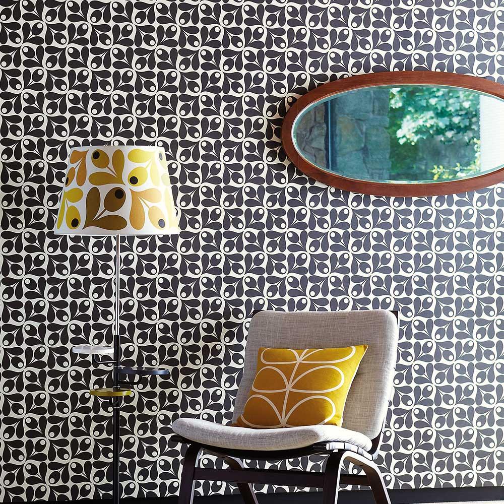 Orla Kiely Small Acorn Cup Black / White Wallpaper - Product code: 110415