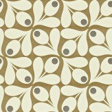 Orla Kiely Acorn Spot White / Brown Wallpaper