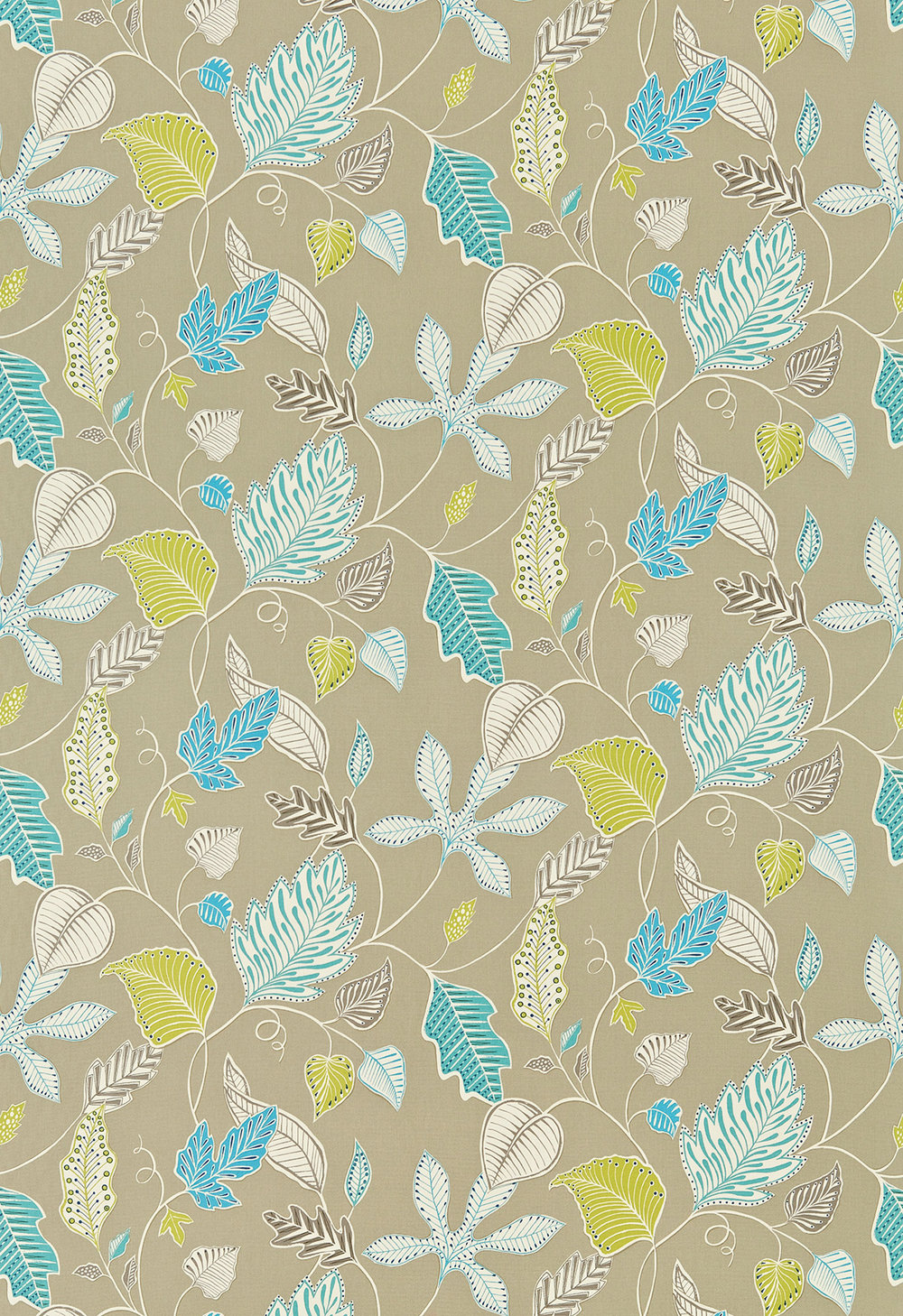 Flavia By Harlequin Turquoise Beige Lime Wallpaper