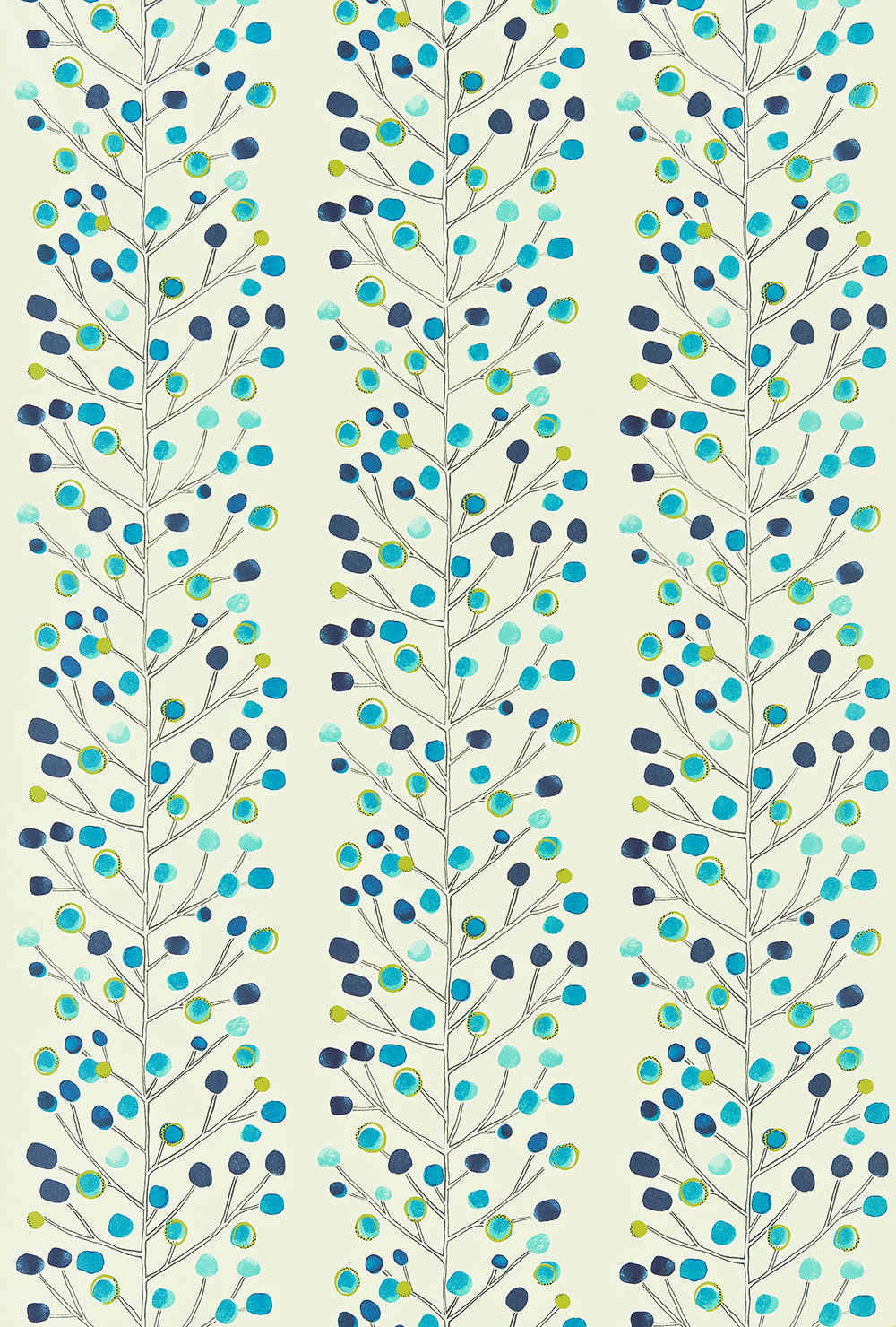 Berry Tree Fabric - Blue / Lime - by Scion